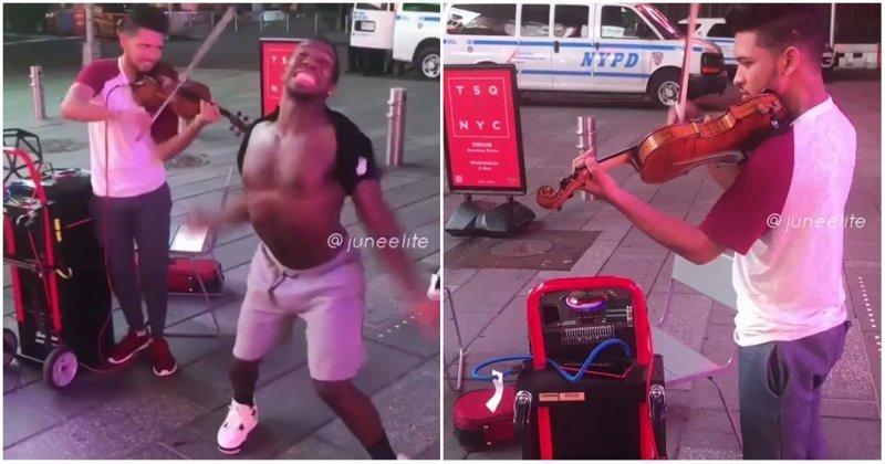 Что происходит, когда темнокожие жители Нью-Йорка слышат скрипку видео, музыка, нью-йорк, прикол, скрипка, танец, юмор