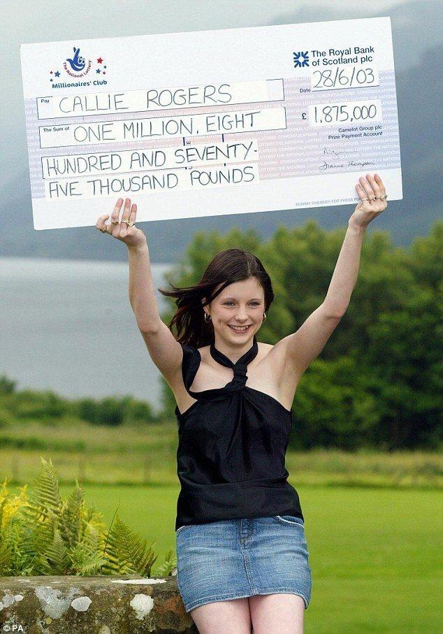 Калли Роджерс, июль 2003 г. великобритания, выигрыш, выигрыш в лотерею, как потратить деньги, лотерея, победительница, правда жизни, шальные деньги