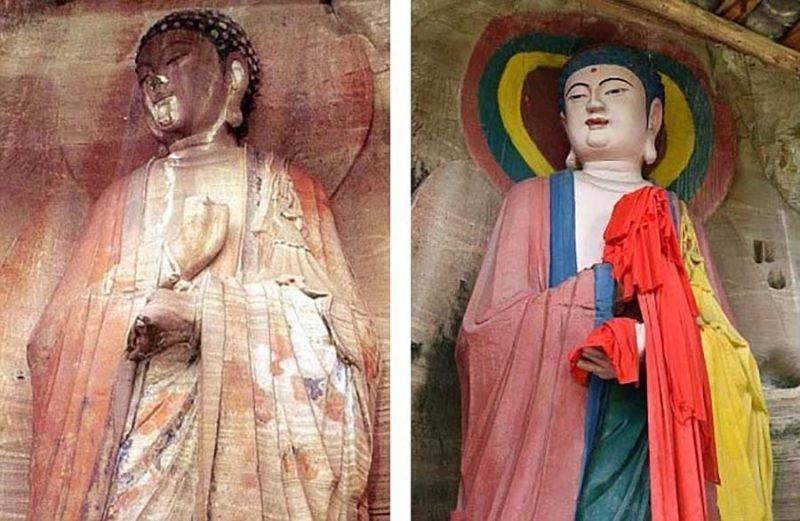Нелепая раскраска 1000-летней статуи Будды возмутила китайцев будда, в мире, китай, раскраска, статуя