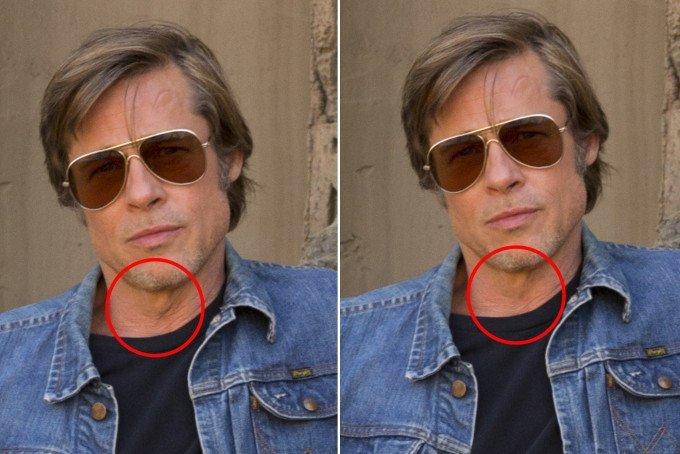 А у 54-летнего Питта исчезли морщины на шее. После ретуши эта часть тела стала выглядеть более гладкой.  ynews, интересное, правда, ретушь, фильм  Тарантино, фото, фотошоп
