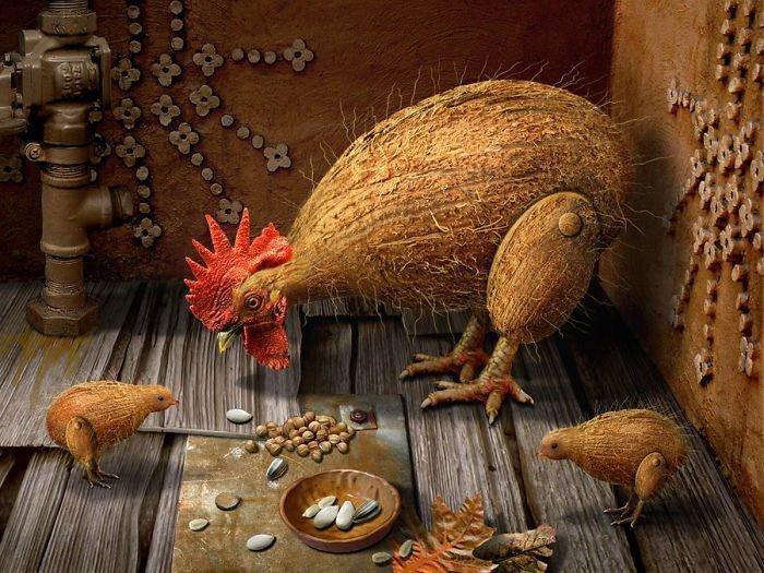 Кококос животные, забавно, прикол, растения, фотошоп, юмор
