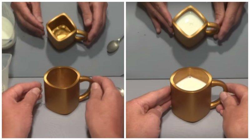 Сможете ли вы точно сказать, какой формы эта кружка? ynews, видео, иллюзия, интересное, кружка, магия, фото