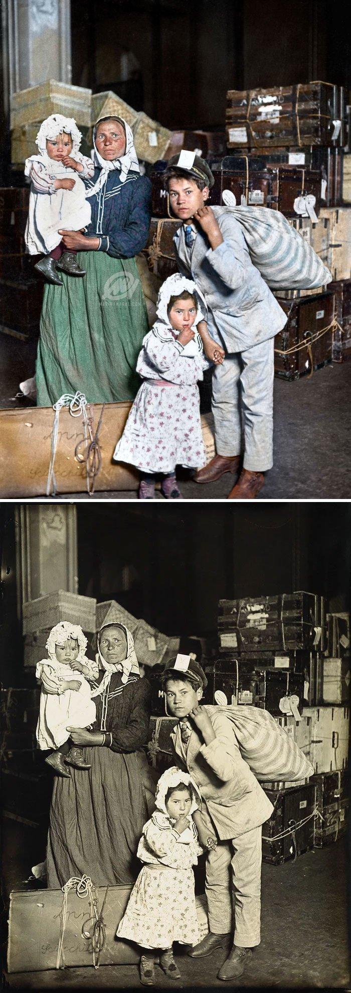 Итальянские иммигранты на острове Эллис, 1905 год история, портрет, прошлое, событие, фотография, фотомир, цвет