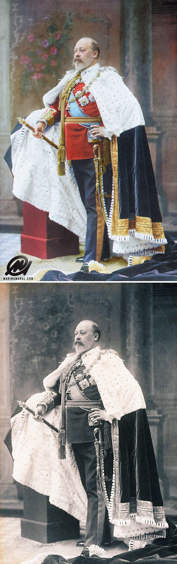 Эдуард VII в день коронации, 1902 год история, портрет, прошлое, событие, фотография, фотомир, цвет