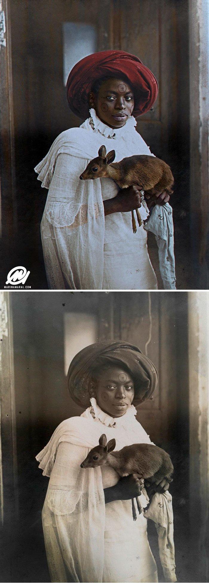 Кенийская женщина с олененком, Момбаса, 1909 год история, портрет, прошлое, событие, фотография, фотомир, цвет