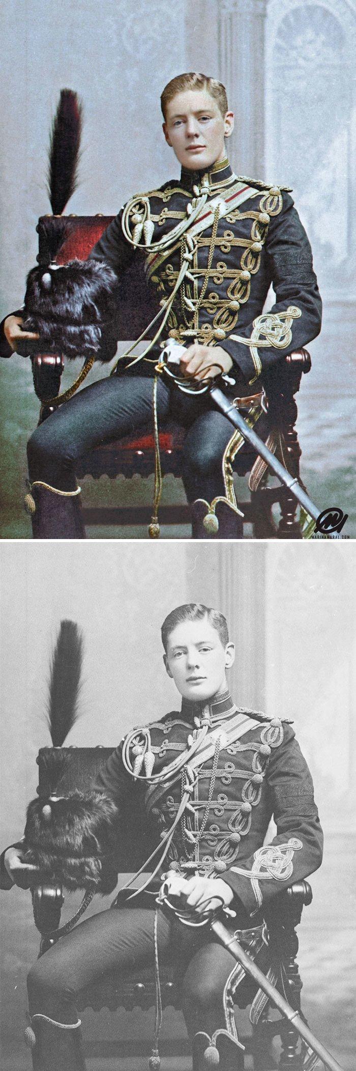 Уинстон Черчилль в форме корнета 4-го Гусарского полка, 1895 год история, портрет, прошлое, событие, фотография, фотомир, цвет
