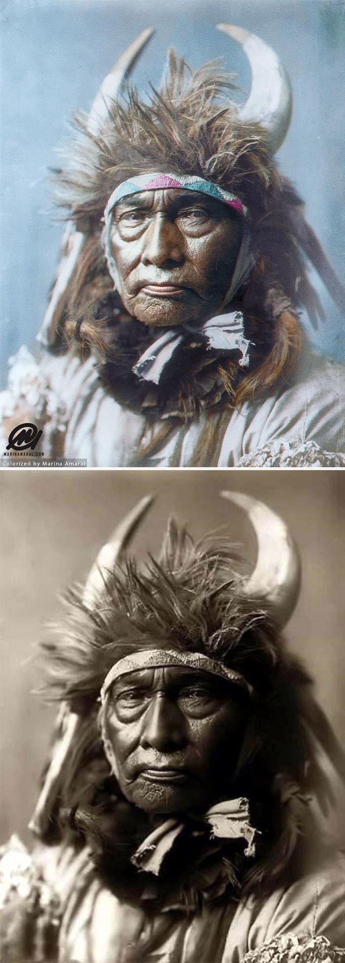 Вождь Бык, племя Апсароке, 1908 год история, портрет, прошлое, событие, фотография, фотомир, цвет