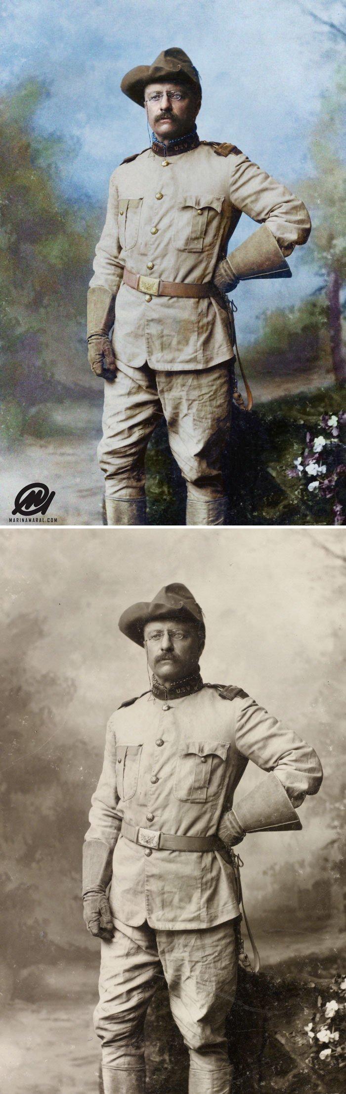 Теодор Рузвельт 26 октября 1898 года история, портрет, прошлое, событие, фотография, фотомир, цвет