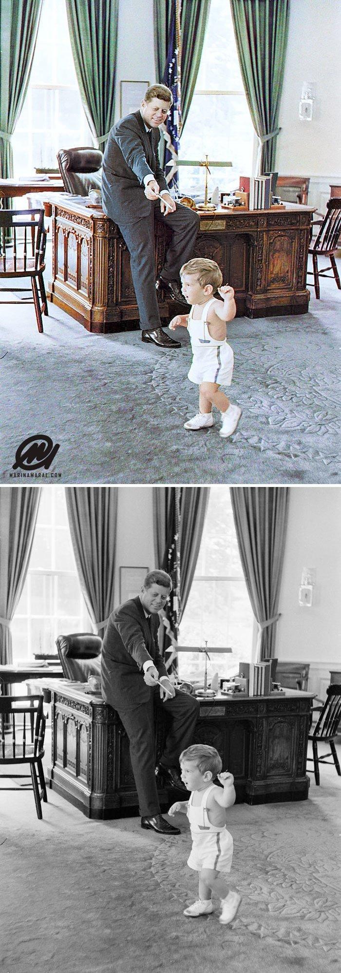 Президент Джон Кеннеди со своим сыном в Овальном кабинете Белого дома, Вашингтон, 25 мая 1962 года история, портрет, прошлое, событие, фотография, фотомир, цвет