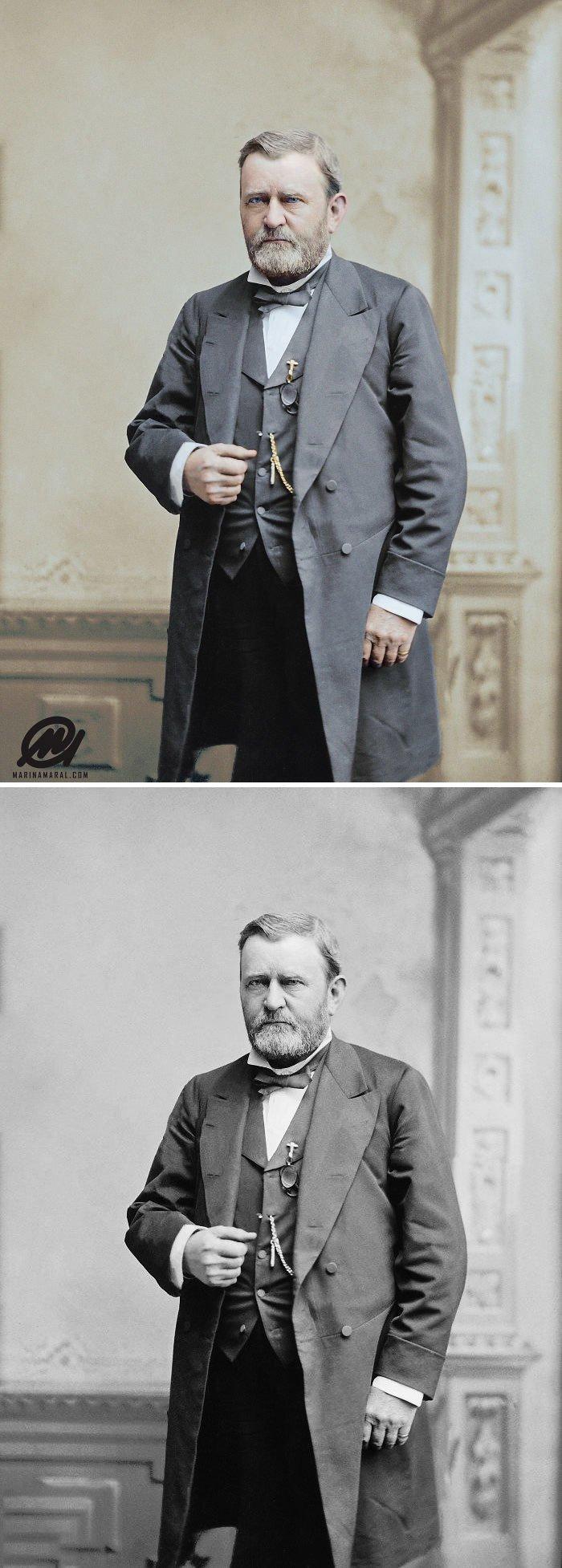 Улисс Грант, 1873 год история, портрет, прошлое, событие, фотография, фотомир, цвет