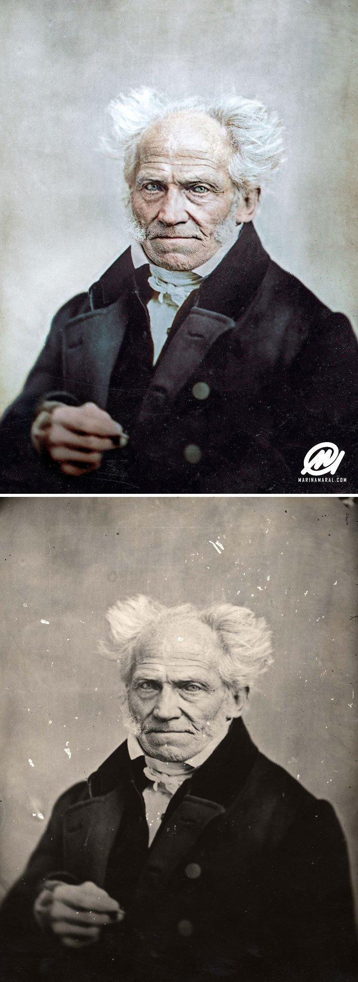 Артур Шопенгауэр, 1859 год история, портрет, прошлое, событие, фотография, фотомир, цвет