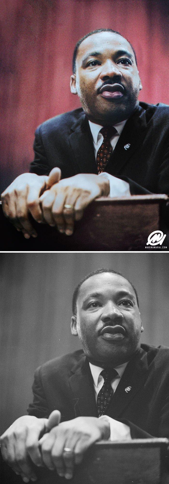 Мартин Лютер Кинг история, портрет, прошлое, событие, фотография, фотомир, цвет