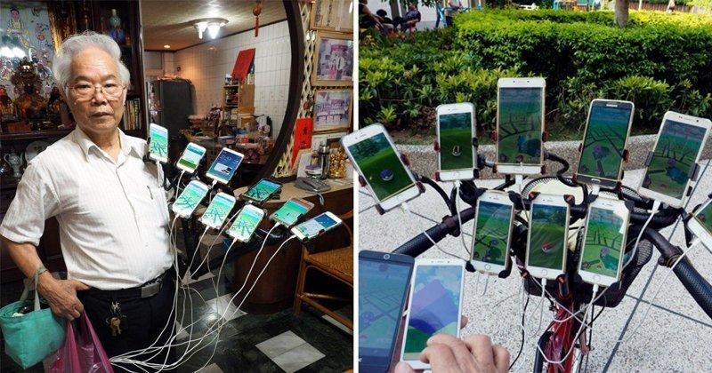Поймай их всех: 70-летний тайванец круглосуточно ловит покемонов на 11 смартфонов Pokemon GO, Тайвань, игра, игромир, мужчина, пенсионер, покемон