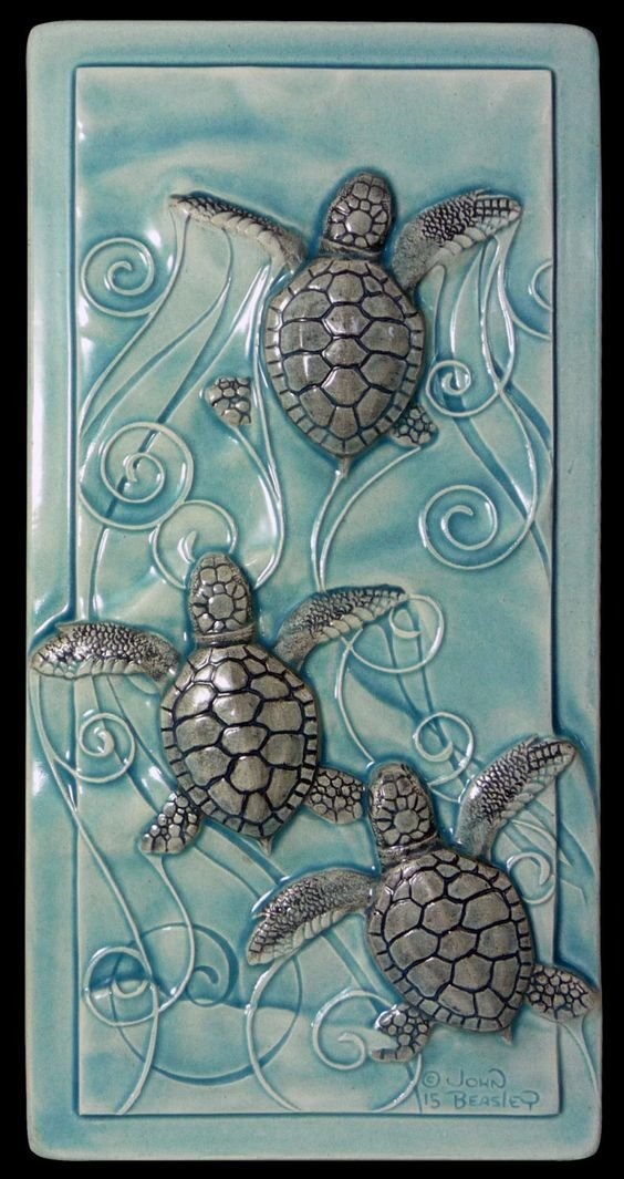 Черепашки искусство, керамика, море, океан, талант