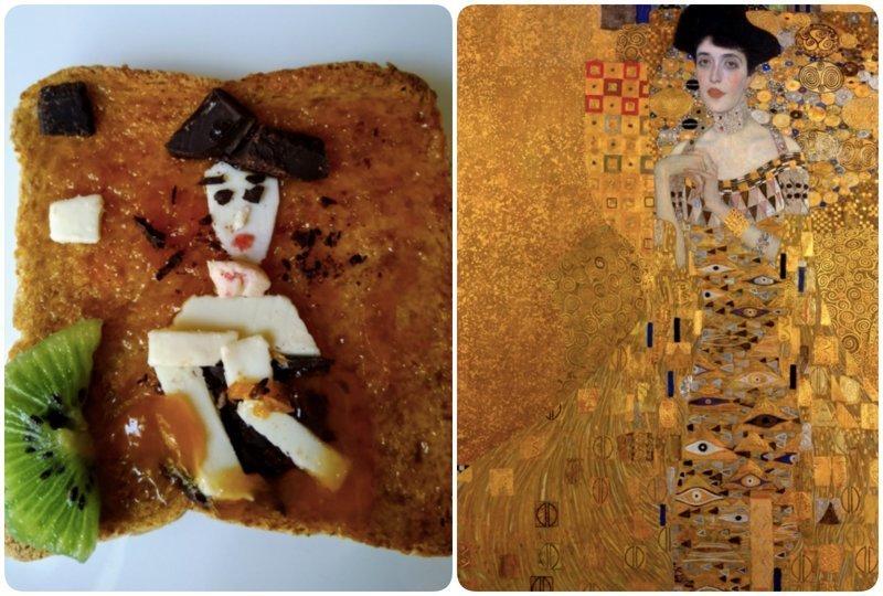 """""""Портрет Адели Блох-Бауэр"""", Густав Климт бутерброды, еда, знаменитые картины, искусство, флешмоб, челлендж"""