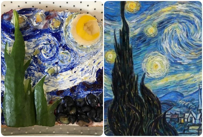"""""""Звездное небо"""", Ван Гог бутерброды, еда, знаменитые картины, искусство, флешмоб, челлендж"""