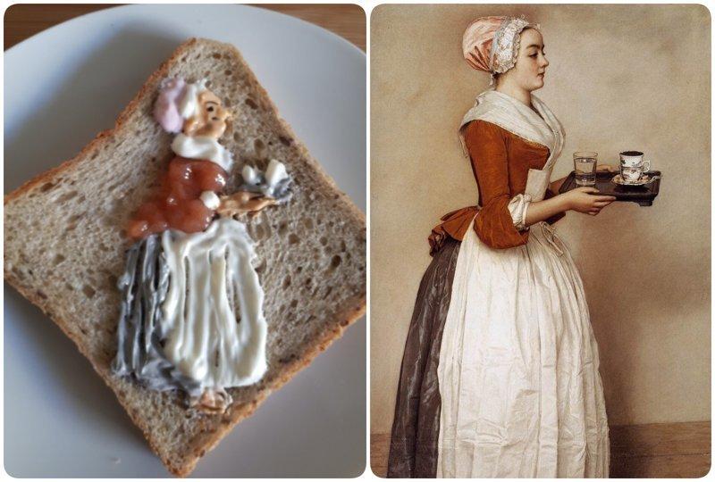 """Шоколадница"", Жан-Этьен Лиотар  бутерброды, еда, знаменитые картины, искусство, флешмоб, челлендж"
