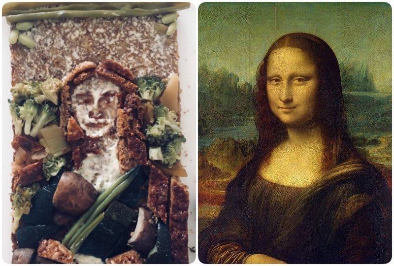 """Мона Лиза"", Леонардо да Винчи бутерброды, еда, знаменитые картины, искусство, флешмоб, челлендж"