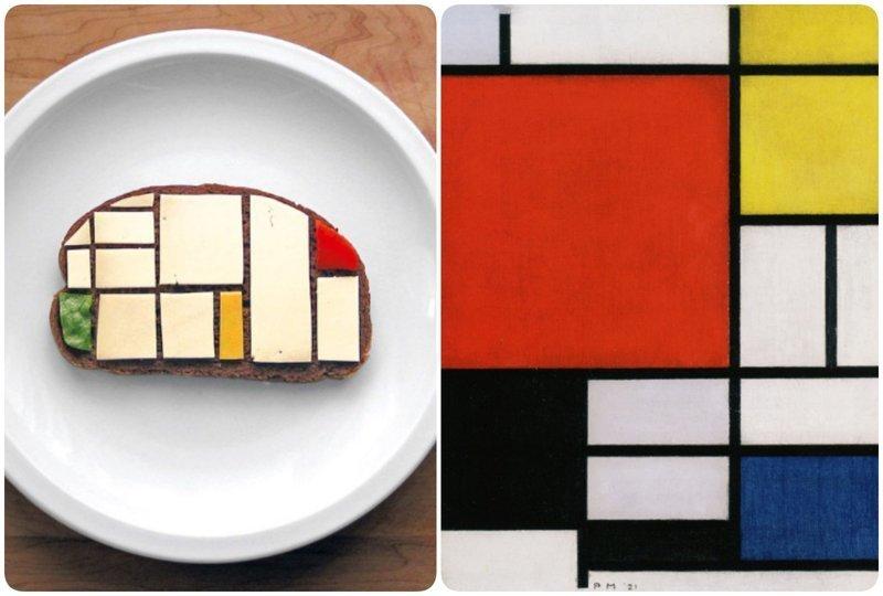 """""""Композиция с красным, желтым и синим"""", Пит Мондриан бутерброды, еда, знаменитые картины, искусство, флешмоб, челлендж"""
