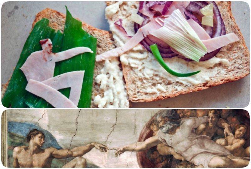 """""""Сотворение Адама"""", фреска Микеланджело бутерброды, еда, знаменитые картины, искусство, флешмоб, челлендж"""