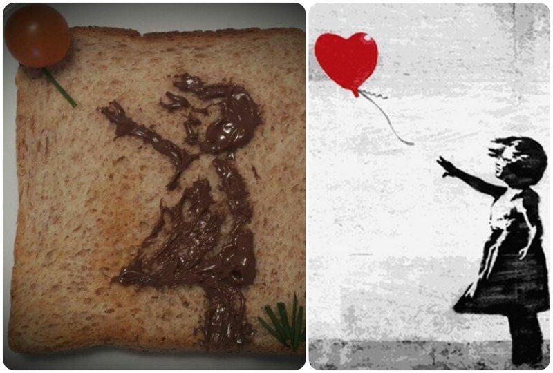 """""""Девочка с шариком"""", Банкси (граффити известного уличного художника)  бутерброды, еда, знаменитые картины, искусство, флешмоб, челлендж"""