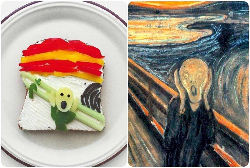 """""""Крик"""", Эдвард Мунк бутерброды, еда, знаменитые картины, искусство, флешмоб, челлендж"""