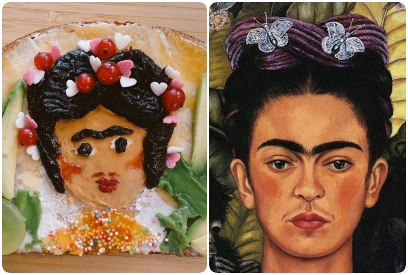 Автопортрет, Фрида Кало бутерброды, еда, знаменитые картины, искусство, флешмоб, челлендж