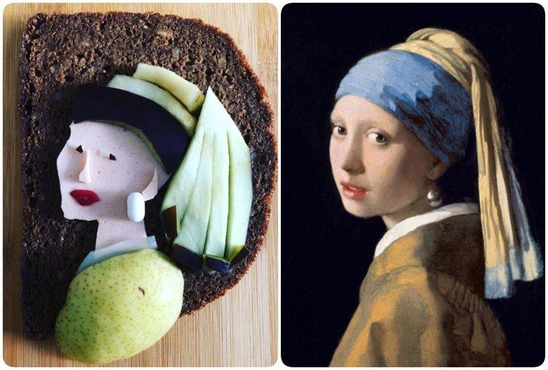 """""""Девушка с жемчужной серёжкой"""", Ян Вермеер бутерброды, еда, знаменитые картины, искусство, флешмоб, челлендж"""