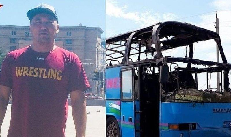 Казахстанец спас полсотни человек из горящего автобуса в России дорога, казахстан, пожар, спасение