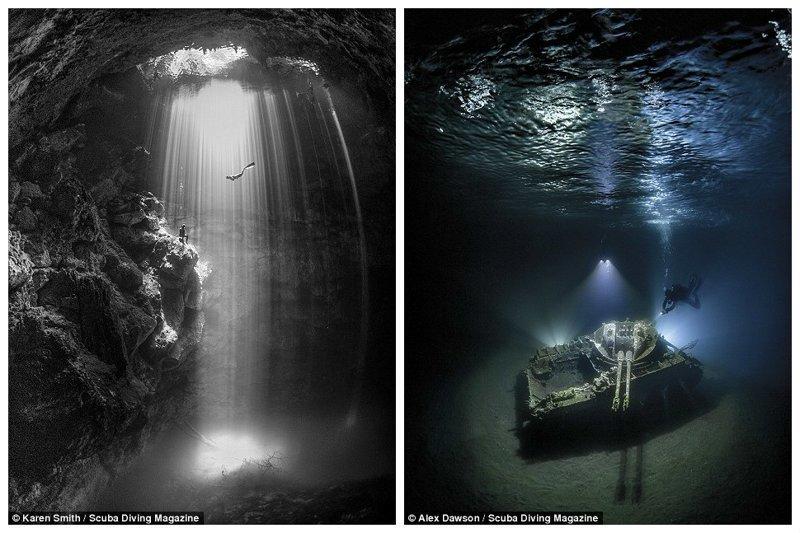 """Фридайверы в самой глубокой пещере Тулума (Карен Смит, 2 место в категории """"широкий формат""""). Затонувший танк, Тала Бэй, Иордания (Алекс Доусон, 1 место в той же категории) Лучшие подводные фотографии года, красота, победители конкурса, подводная фотография, подводное фото, подводный мир, фотоконкурс, фотоконкурсы. природа"""