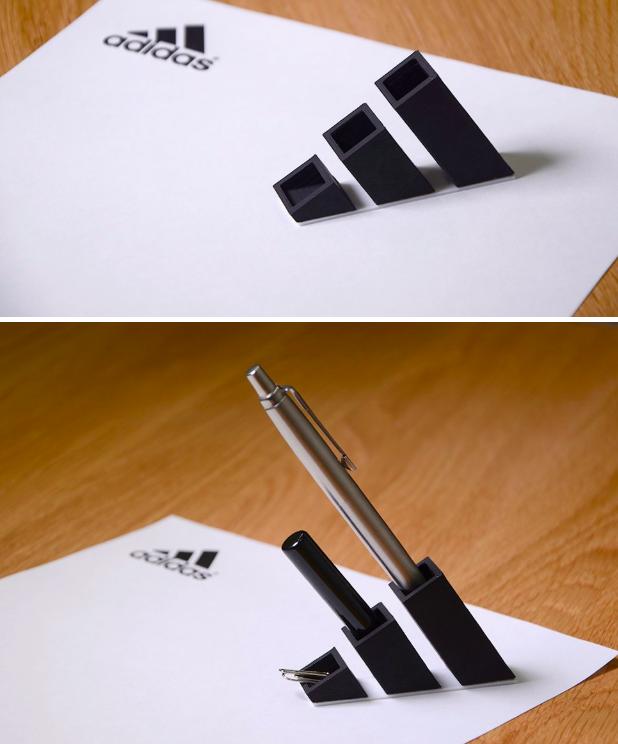4. Оказывается, всем знакомый Adidas с легкостью выполняет функции канцелярских принадлежностей 3D модели, бренды, дизайнер, интересно, красиво, логотипы, фото, япония