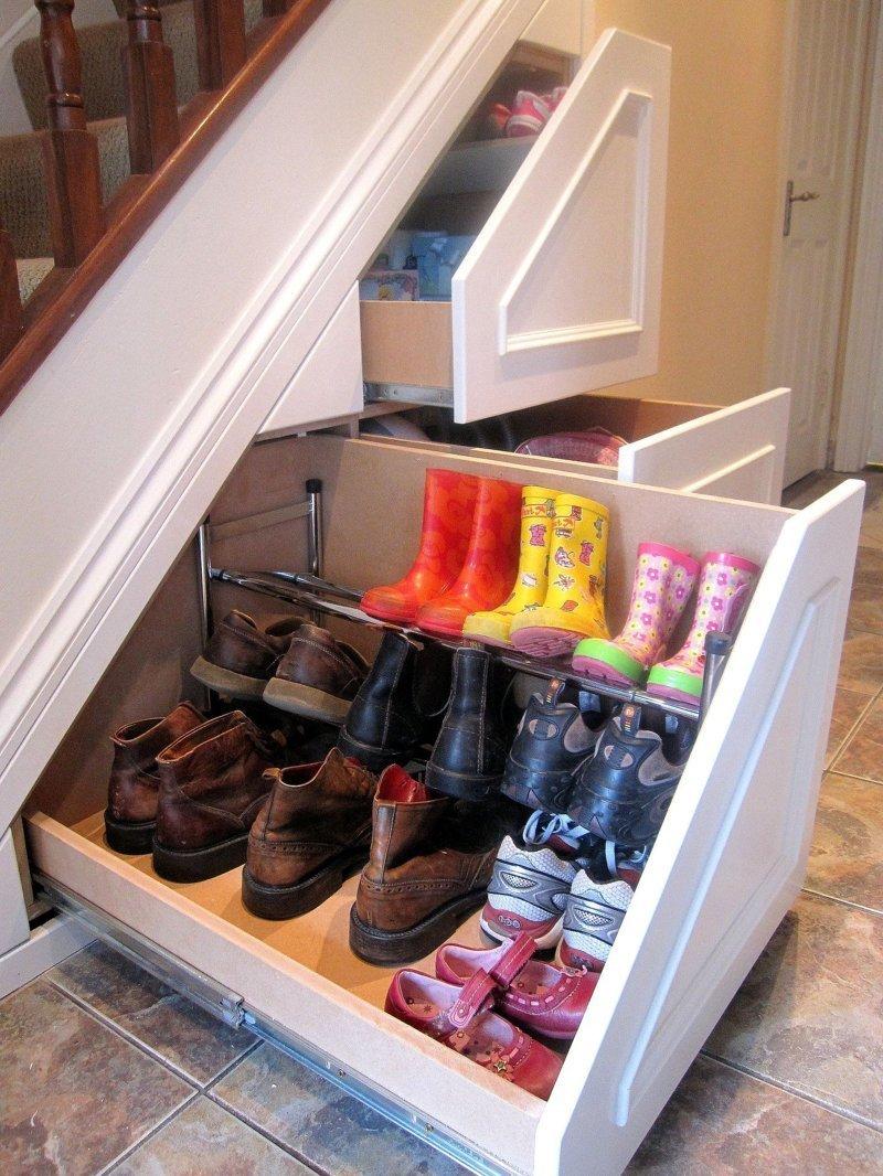 1. Нужно использовать любое свободное пространство, которое есть в квартире  маленькая квартира, обувь, способы хранения, фото, хранение, шкаф