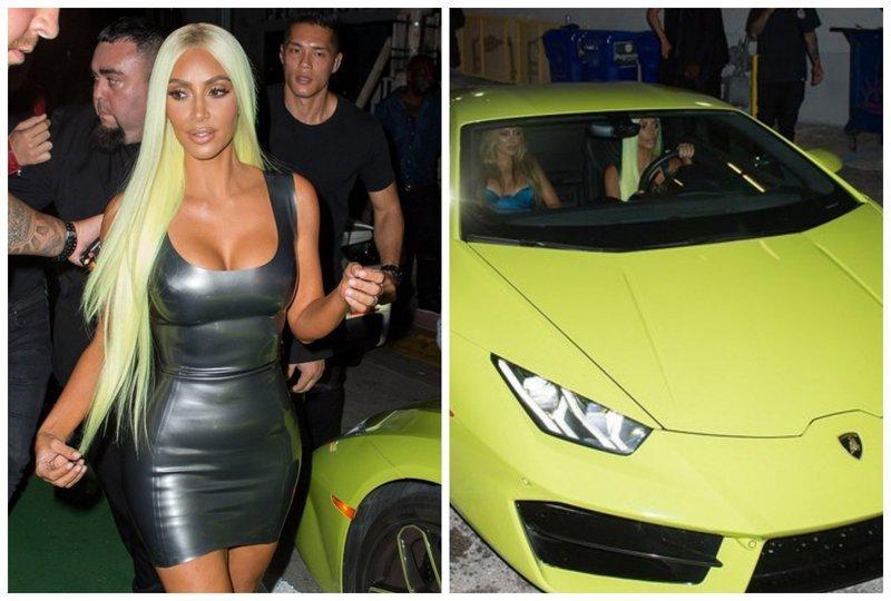 Ким Кардашьян перекрасилась в цвет своего нового Lamborgini, чем шокировала поклонников (8 фото)