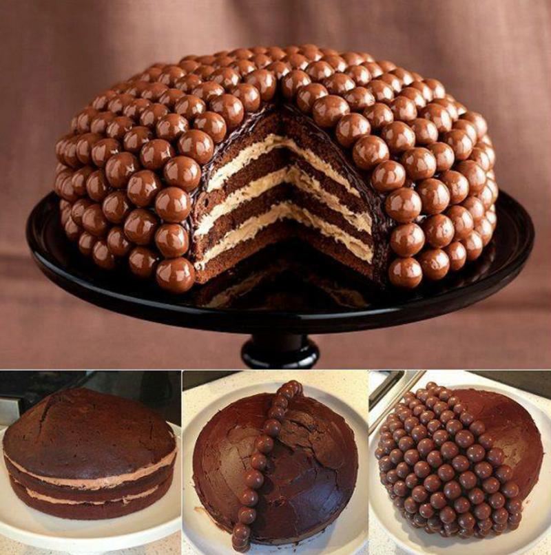 5. С принципом украшения вы уже знакомы - вот еще один прикольный вариант вкусно, десерты, идеи, интересно, красиво, полезные идеи, торты, фото