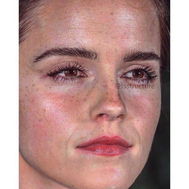 7. Эмма Уотсон без макияжа, без фотошопа, звезды вблизи, знаменитости, фото вблизи