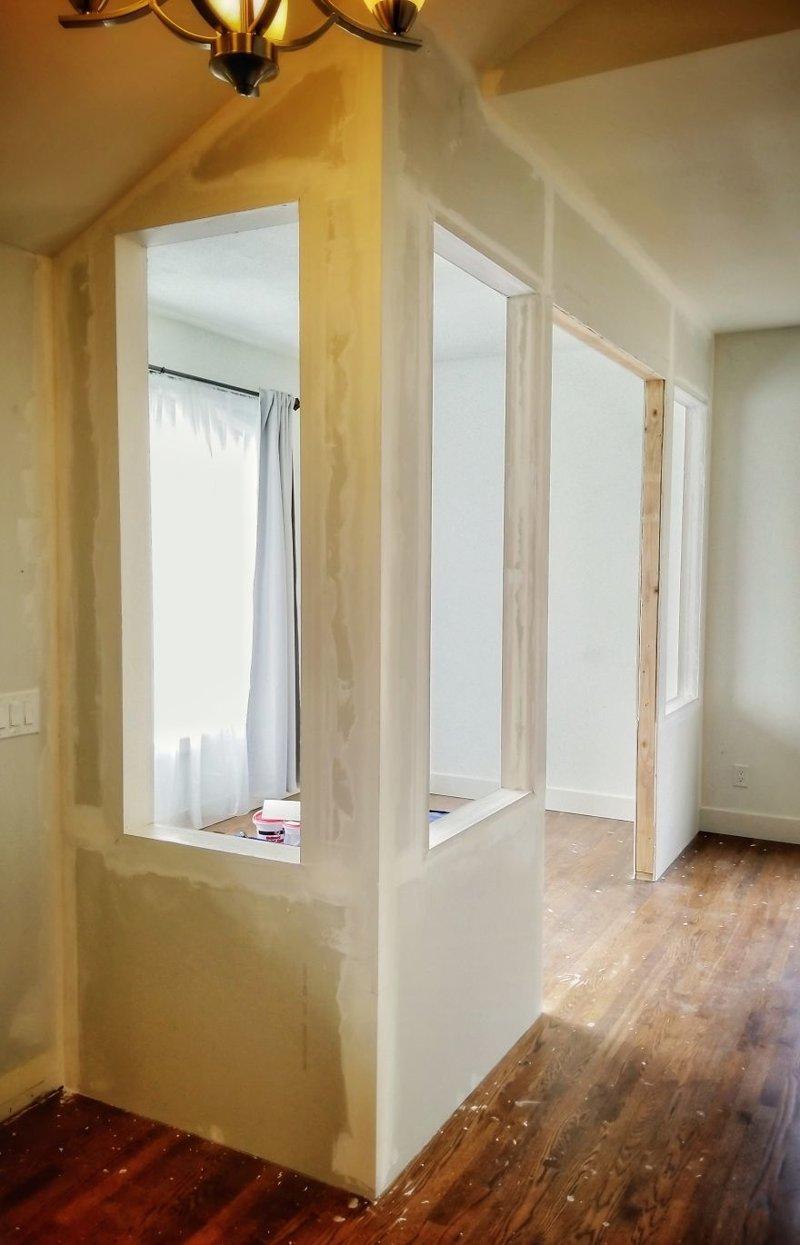 Несколько слоев шпатлевки и шлифовка гостиная, дом, зонирование, кабинет, рабочее место, своими руками, сделай сам