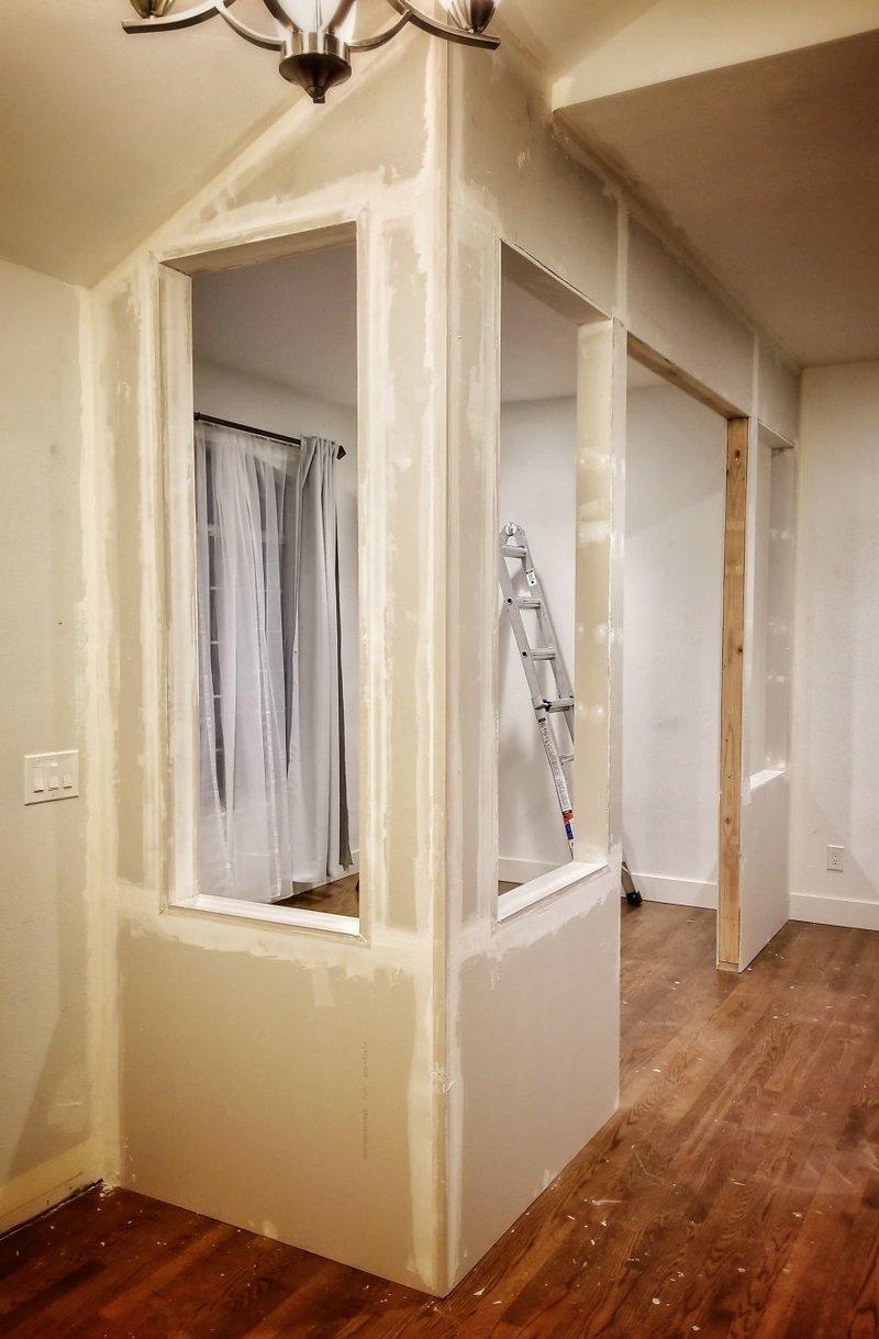 Следующий шаг - затирка швов гостиная, дом, зонирование, кабинет, рабочее место, своими руками, сделай сам