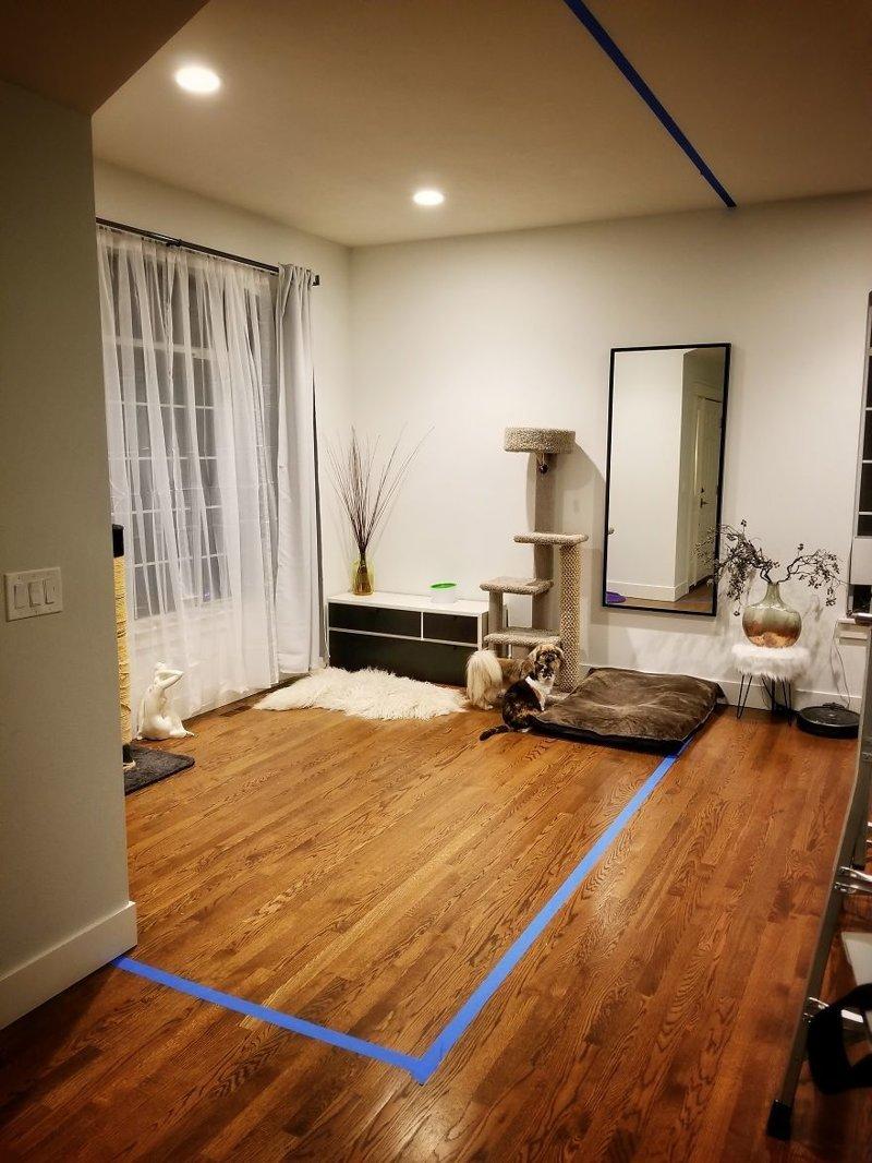 Зонирование будущего кабинета клейкой лентой. Высота потолка - 3 м гостиная, дом, зонирование, кабинет, рабочее место, своими руками, сделай сам