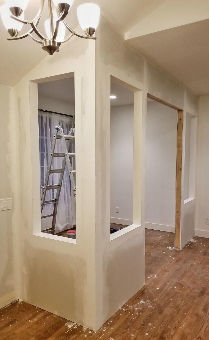 4 слоя шпатлевки спустя несколько дней гостиная, дом, зонирование, кабинет, рабочее место, своими руками, сделай сам