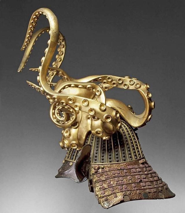 18. Шлем самурая, выполненный в форме осьминога. Япония, 1700-е годы интересное, история, находки, уникальность