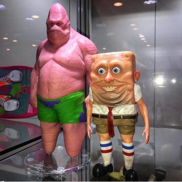 Губка Боб и Патрик в реальном мире день, животные, кадр, люди, мир, снимок, фото, фотоподборка