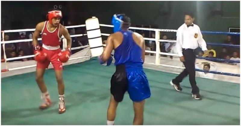 Боксерский поединок в Индии с неожиданным финалом  бокс, боксер, в мире, видео, индия, нокаут, спорт