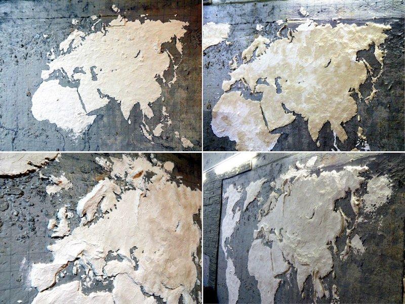 Шпатлёвка наносится тонкими слоями по контурам, каждый новый слой — после высыхания предыдущего гараж, карта, красота, очумелые ручки, своими руками, стена
