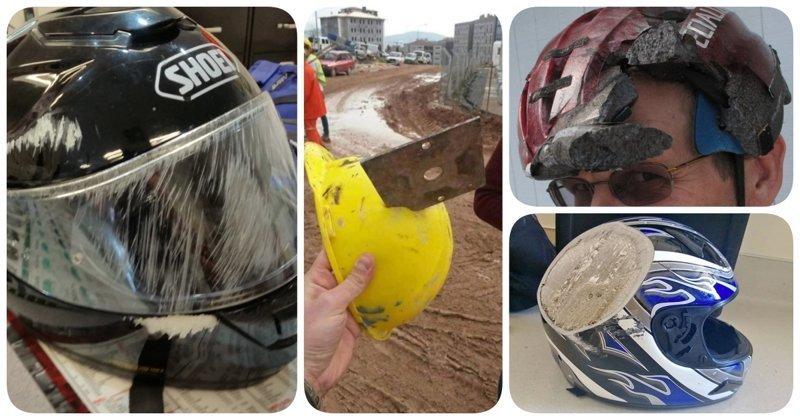 20 наглядных причин, почему эти люди все еще живы безопасность, береги жизнь, велосипедный шлем, каски, опасно, шлемы, экстрим