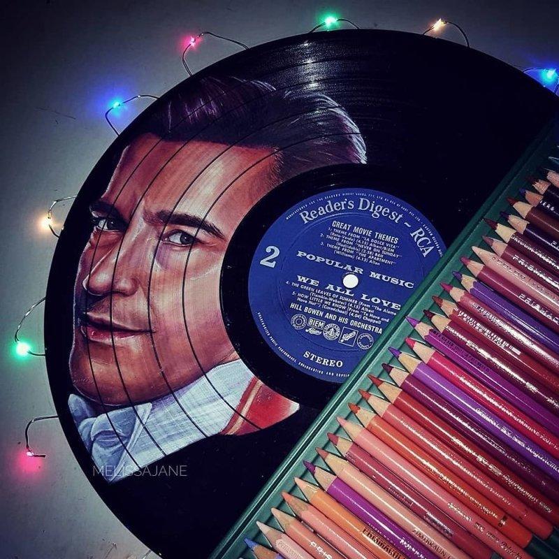 3. Хью Джекман виниловые пластинки, знаменитости, искусство, креатив, портреты, рисунки, творчество, художник