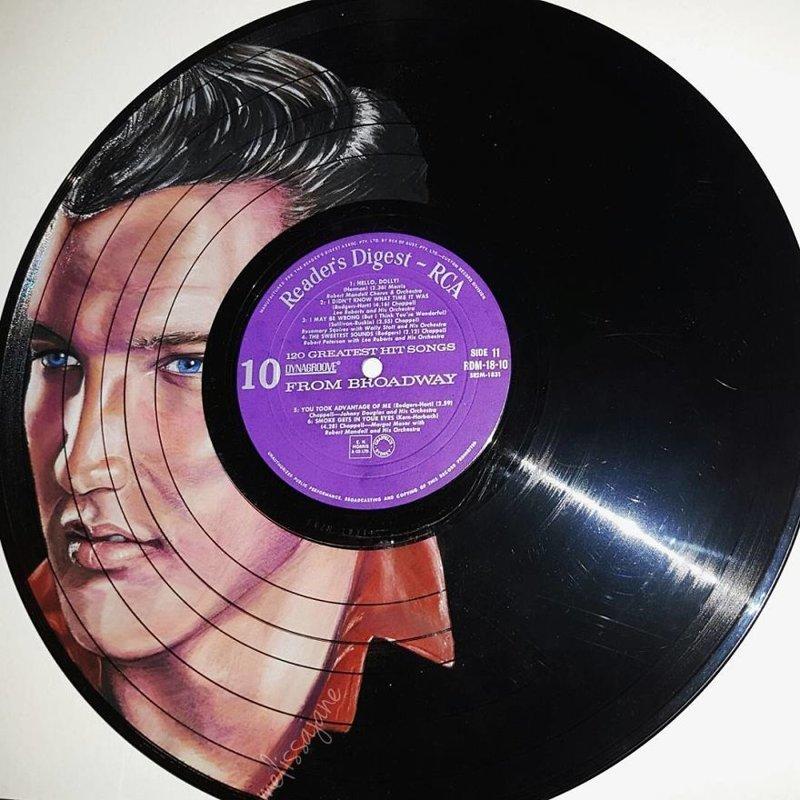 13. Элвис виниловые пластинки, знаменитости, искусство, креатив, портреты, рисунки, творчество, художник