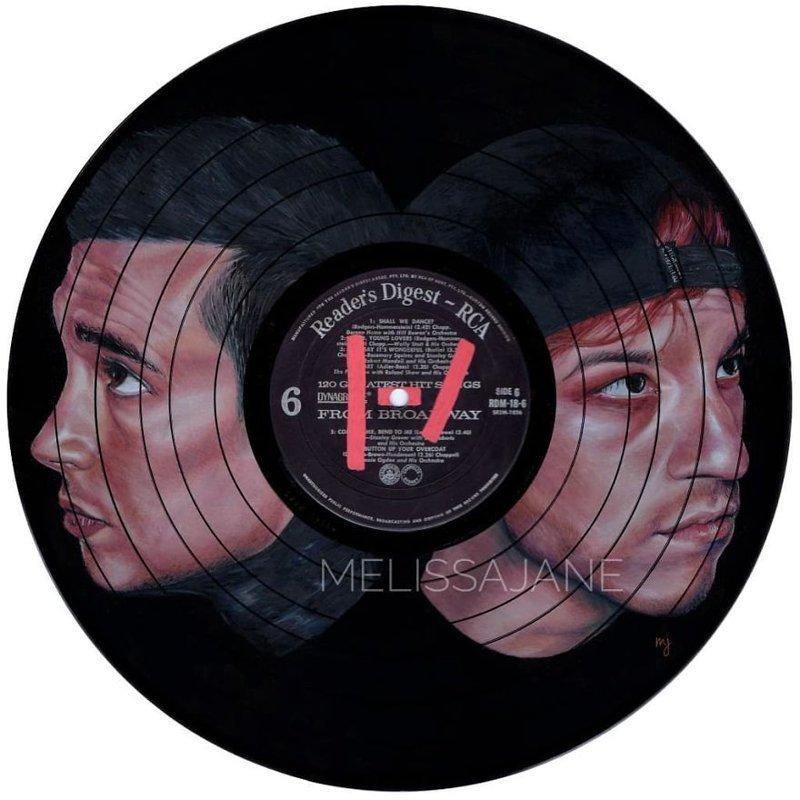 2. Дуэт Twenty One Pilots виниловые пластинки, знаменитости, искусство, креатив, портреты, рисунки, творчество, художник