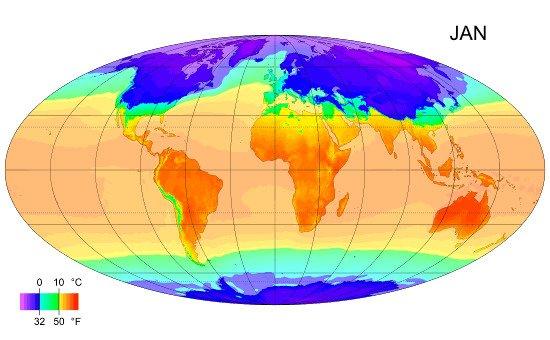 Распределение температуры воздуха по поверхности планеты в течение года