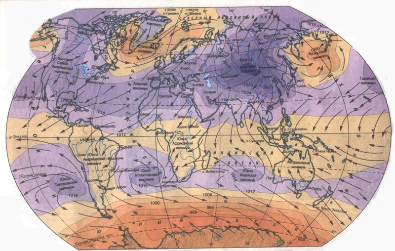 Распределение температуры воздуха и осадков по поверхности планеты