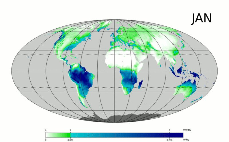 Распределение осадков по поверхности планеты в течение года